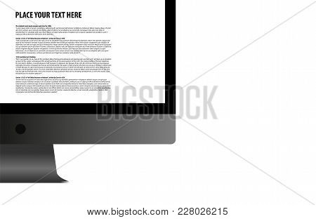 Design Template With Modern Computer Or Realistic Monitor On White Background. Eps 10 Stock Vector I