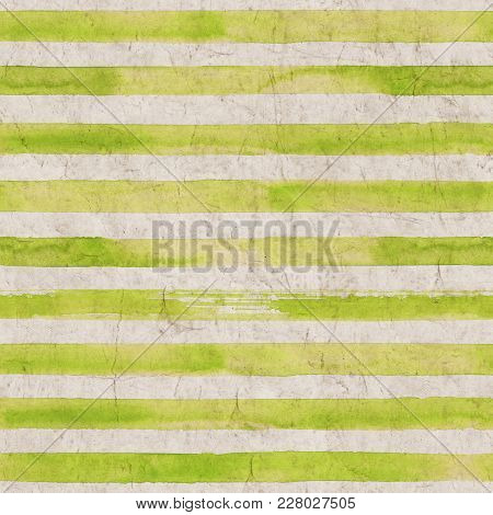 Vintage Green Stripe Background. Old Aged Paper With Watercolor Hand Drawn Stripe Pattern. Horizonta