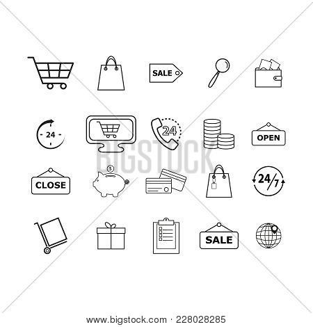 Set Of Shopping Online Icons On White Background