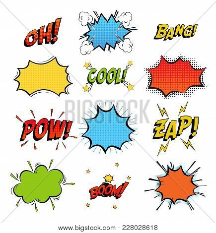 Onomatopoeia Comics Sounds In Clouds For Emotions And Kaboom Explosion. Steaming Oops And Wham Sound