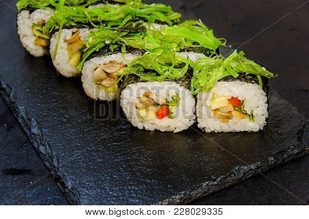 Sushi Roll With Vegetable, Tofu, Cream Cheese, Sesame. Sushi Menu Japanese Food 39
