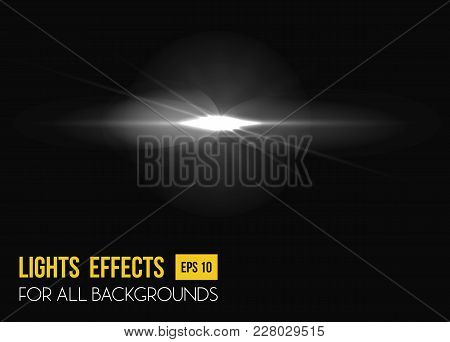 Sunbeam Shining Through Lens, Sun Light Effect. Abstract Sunlight Radiance Of Beam Light Effect Back