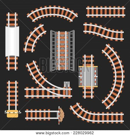 Rail Or Railroad, Railway Top View. Train Transportation Track Made Of Steel And Wood, Rail Wavy Or