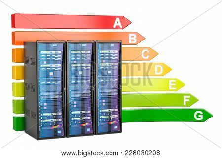 Energy Efficiency Chart With Computer Server Racks, 3d Rendering Isolated On White Background