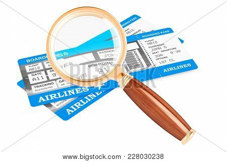Searching For Air Tickets Concept, 3d Rendering Isolated On White Background