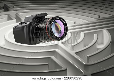 Digital Camera Inside Labyrinth Maze. 3d Rendering