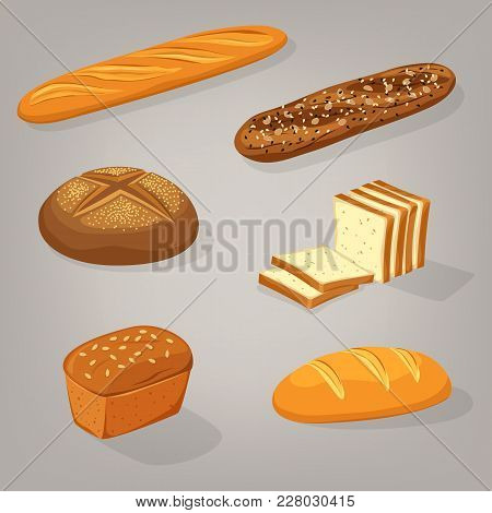 Bread Food Variety. Brick Butterbrot Loaf Or Anadama, Baton Or Baguette, Toasts. Pastry And Bakery,