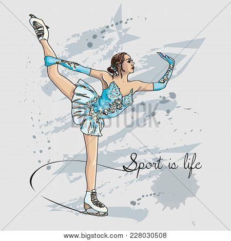 Vector Scetch Figure Skater Color With Format Eps10