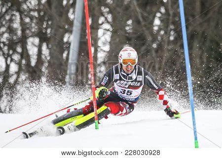 Zagreb, Croatia - January 4, 2018 : Vidovic Matej Of Cro Competes During The Audi Fis Alpine Ski Wor