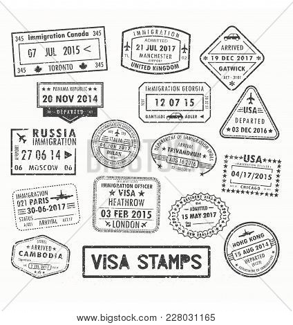 Set Of Isolated Visa Passport Stamps Of Arriving To Toronto Canada Or United Kingdom, Uk Or Milan Ci