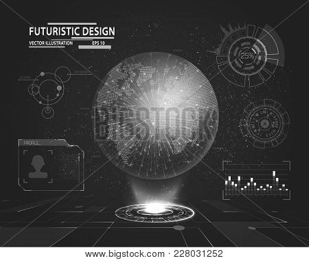 Planet Hologram With Futuristic Hud Design Elements With Bar And Circle Graph. Infographic Or Techno
