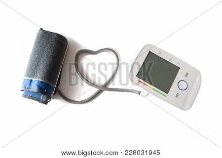 Blood Pressure Gauge With Cuff And Monitor Connected With A Tube In Heart Shape, Device For Health A