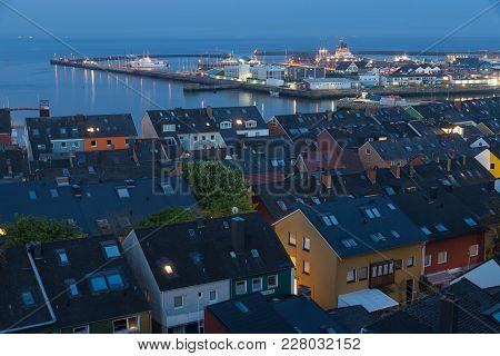 Aerial Night View Village Helgoland With View At Harbor And Northsea