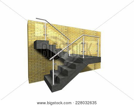 Glass Fence With Stainless Steel On Staircase 3d Illustration On White Isolated Background