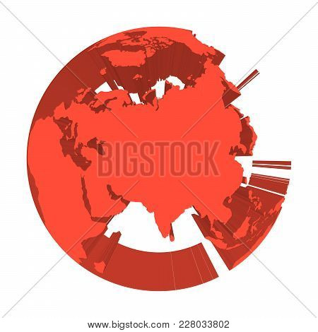 Earth Globe Model With Red Extruded Lands. Focused On Asia. 3d Vector Illustration.