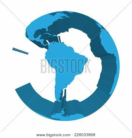 Earth Globe Model With Blue Extruded Lands. Focused On South America. 3d Vector Illustration.