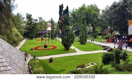 Bran, Romania, July 26, 2017:park Next To Medieval Bran Castle, Home Of Vlad Tepes Dracula, Brasov,