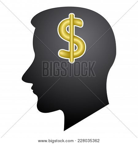 Head Silhouette With A Money Symbol. Vector Illustration Design