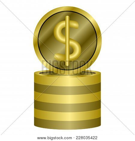 Pile Of Coins Icon. Vector Illustration Design