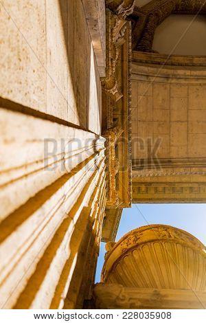 San Francisco, Usa - April 2017: Column Of Palace Of Fine Arts - San Francisco, California, Usa. Pal