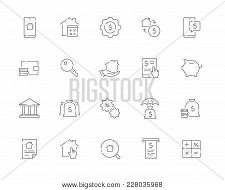 Simple Set Of Mortgage Related Vector Line Web Icons. Contains Such Icons As Bank, Property, Calcula