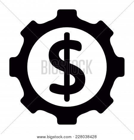 Gear Piece With The Money Symbol. Vector Illustration Design