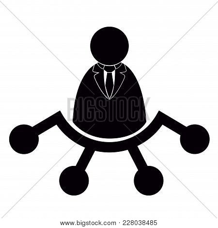 Businessman With Network Icon. Vector Illustration Design