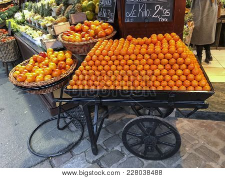 Row Of Tangerines In A Barrow On The Market