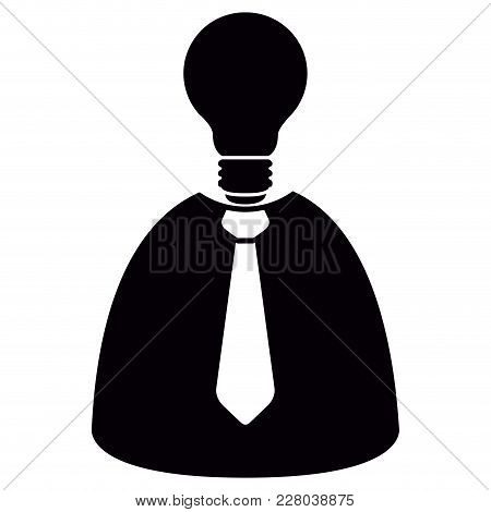Lightbulb Head Businessman Icon. Vector Illustration Design