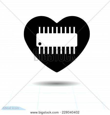Microcircuit Icon In Heart . Illustration Of Microcircuit Vector Icon For Web And Valentines Day