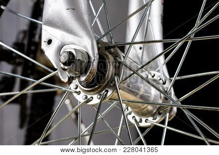 Kids Bike. Shock Absorber, Brake, Wheel Shown Close Up.