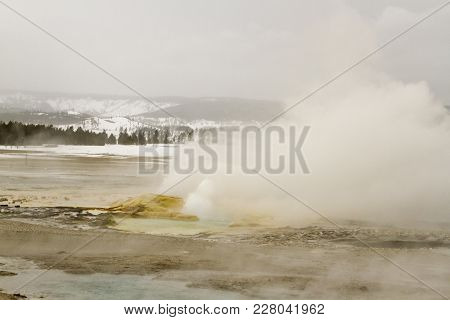 Geysers Next To Fountain Geyser Erupting At Fountain Paint Pots In Yellowstone National Park