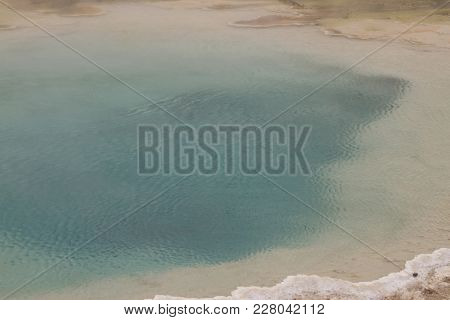 Emerald Blue Geyser At Fountain Paint Pots In Yellowstone National Park