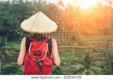 Young Lady With Traditional Asian Hat And Backpack Standing And Looking At Rice Field ,intentional S