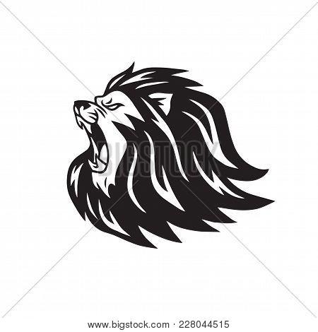 Mad Lion Roaring Head Logo Vector Illustration Mascot Design
