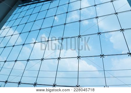Modern Glass Wall Of Office Building. Image Of Windows In Morden Office Building.