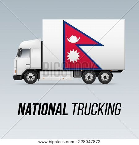 Symbol Of National Delivery Truck With Flag Of Nepal. National Trucking Icon And Nepalese Flag