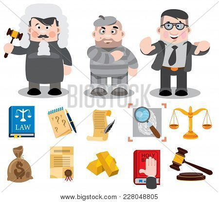Cartoon Characters, Judge, Defendant, Lawyer. Set Of Vector Illustration Isolated On White Backgroun