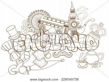 England Travel Destination Concept, Elements For Traveling To England, Uk