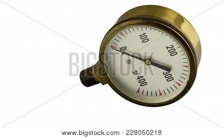 Antique Vintage Brass Pressure Gauge With Threaded Pipe Fitting On A White Background