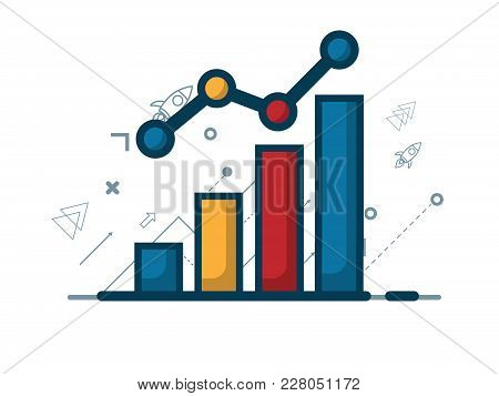 Illustration Of Growth Graph With Growth Arrow, Business Concept Vector Background