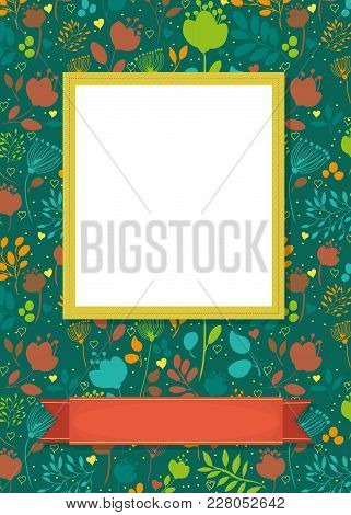 Floral Greeting Card. Graceful Silhouettes Of Flowers And Plants. Yellow Frame For Custom Photo. Red