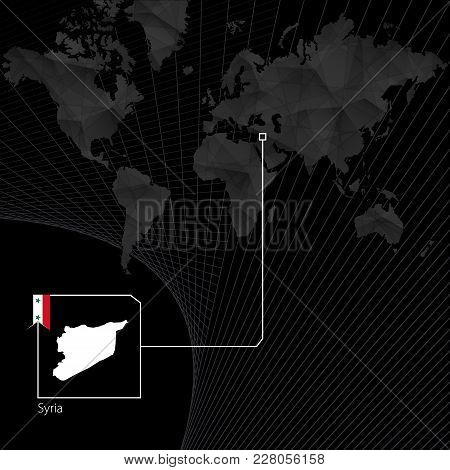 Syria On Black World Map. Map And Flag Of Syria.