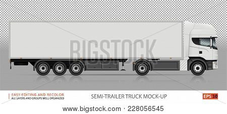 Truck Vector Mock-up. Isolated Template Of Semi-trailer Truck On Transparent Background. White Deliv