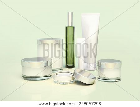 Beautician Accessories For Beauty Care, Hygiene  On A Neutral Background. Skin Care Products On Gree