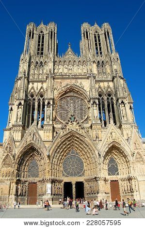 The Beautiful Glowing High Gothic Facade Of The Cathedral Of Notre-dame At Reims, France - 16 Septem