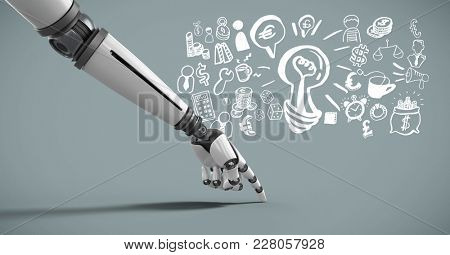 Digital composite of Android hand pointing with idea brainstorm and Business graphics drawings