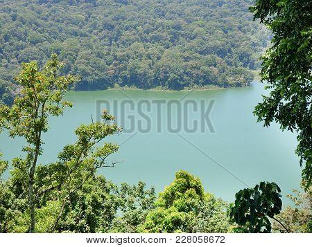 Lake Buyan, Caldera Lake At Bali. Beautiful Lake With Turquoise Water In The Mountains Of The Island