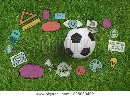 Digital composite of Composite image of soccer items