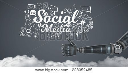Digital composite of Android hand thumbs up with social media graphics drawings